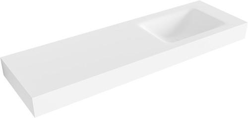 CLOUD Talc vrijhangende wastafel 150cm rechts rand 12cm | voorraad