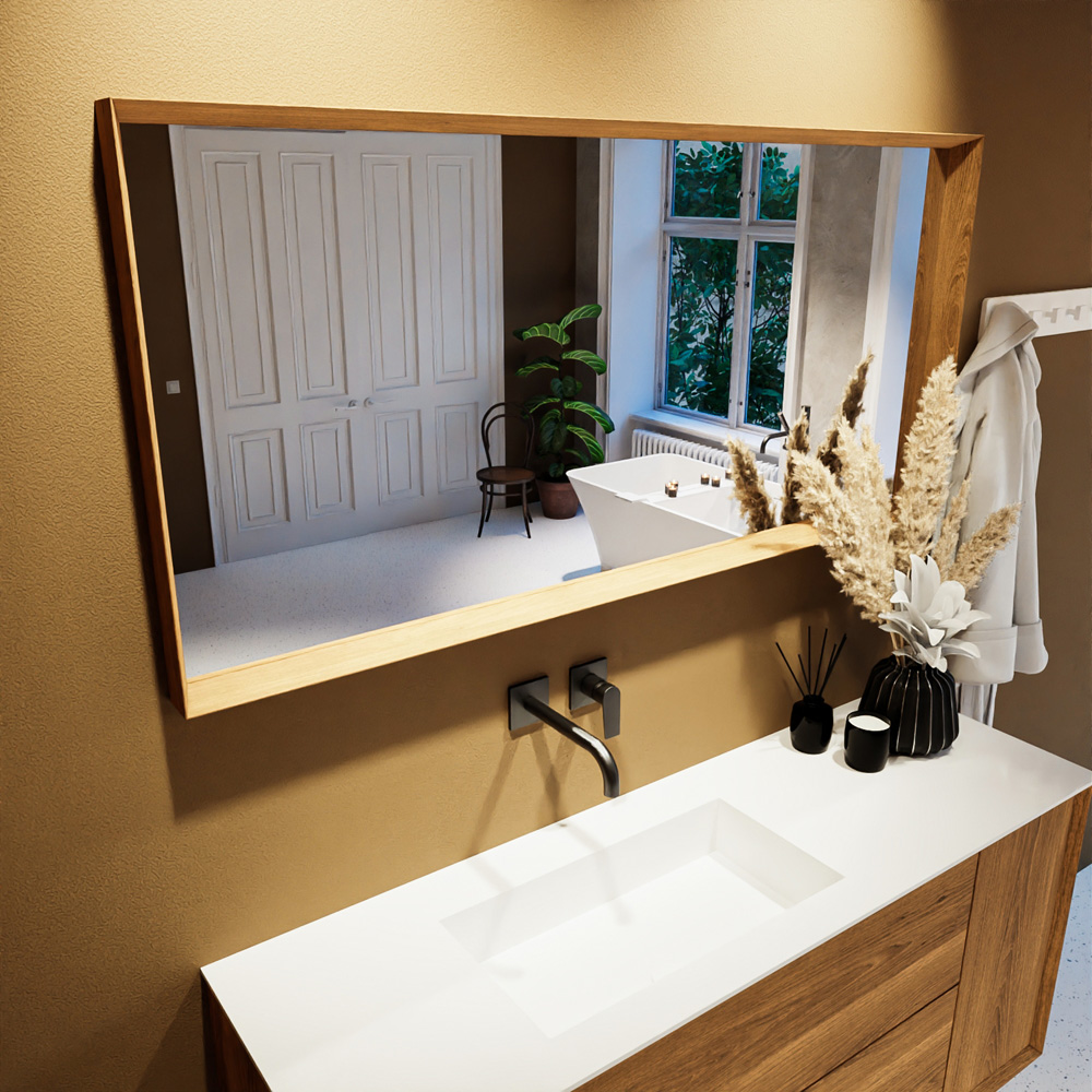 Spiegel rechthoek COFF passend bij de badkamermeubels van MONDIAZ
