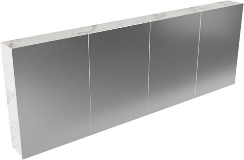 CUBB spiegelkast 200x70x16cm kleur carrara met 4 deuren