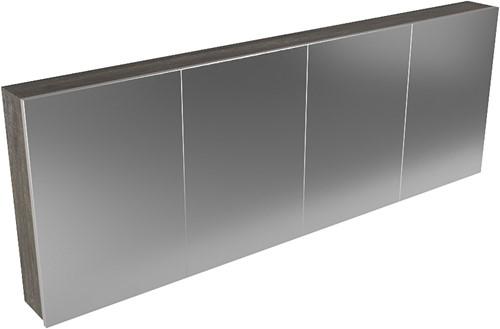 CUBB spiegelkast 200x70x16cm kleur dark brown met 4 deuren