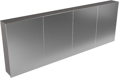 CUBB spiegelkast 200x70x16cm kleur dark grey met 4 deuren