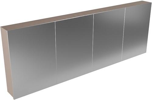 CUBB spiegelkast 200x70x16cm kleur smoke met 4 deuren