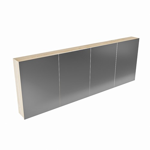 CUBB spiegelkast 200x70x16cm kleur washed oak met 4 deuren