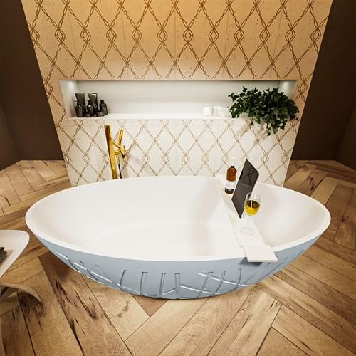 HOLM vrijstaand bad 180x85cm kleur Clay / Talc