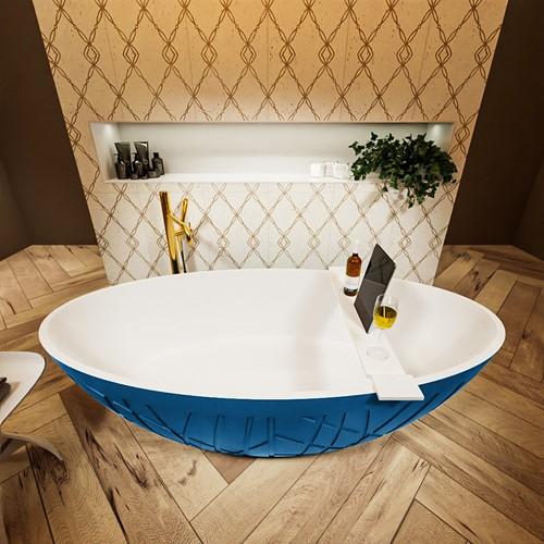 HOLM vrijstaand bad 180x85cm kleur Jeans / Talc