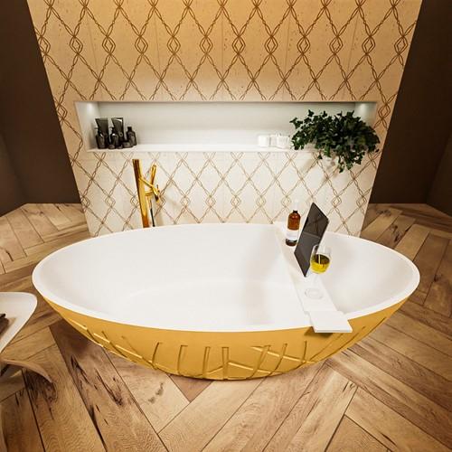 HOLM vrijstaand bad 180x85cm kleur Ocher / Talc