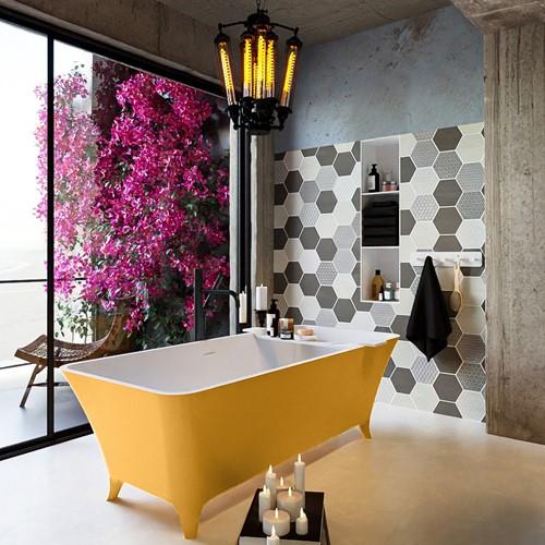 LUNDY vrijstaand bad 170x75cm kleur Ocher / Talc