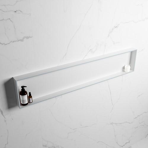EASY Nis 149,5x29,5cm in solid surface kleur Clay   Talc. 1 vak  geschikt voor in- of opbouw