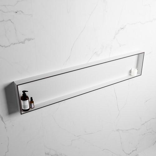 EASY Nis 149,5x29,5cm in solid surface kleur DarkGrey | Talc. 1 vak  geschikt voor in- of opbouw