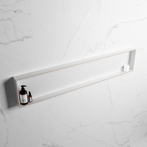 EASY Nis 149,5x29,5cm in solid surface kleur Linen   Talc. 1 vak  geschikt voor in- of opbouw