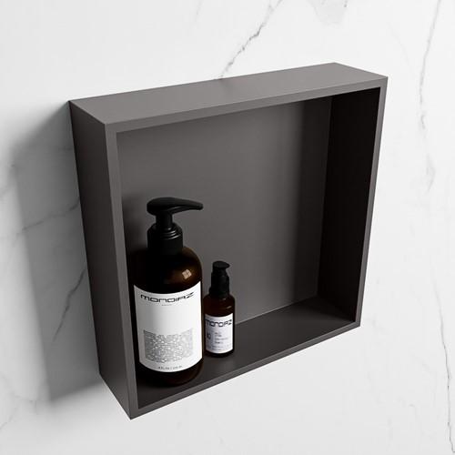 EASY Nis 29,5x29,5cm in solid surface kleur DarkGrey   DarkGrey. 1 vak  geschikt voor in- of opbouw