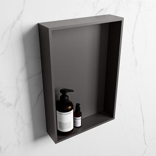 EASY Nis 44,5x29,5cm in solid surface kleur DarkGrey | DarkGrey. 1 vak  geschikt voor in- of opbouw