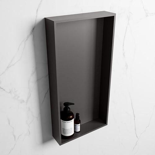 EASY Nis 59,5x29,5cm in solid surface kleur DarkGrey | DarkGrey. 1 vak  geschikt voor in- of opbouw
