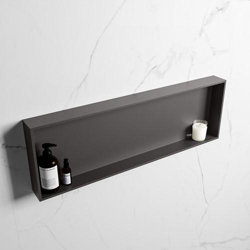 EASY Nis 89,5x29,5cm in solid surface kleur DarkGrey   DarkGrey. 1 vak  geschikt voor in- of opbouw