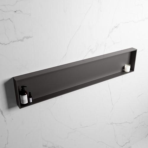EASY Nis 149,5x29,5cm in solid surface kleur DarkGrey   DarkGrey. 1 vak  geschikt voor in- of opbouw