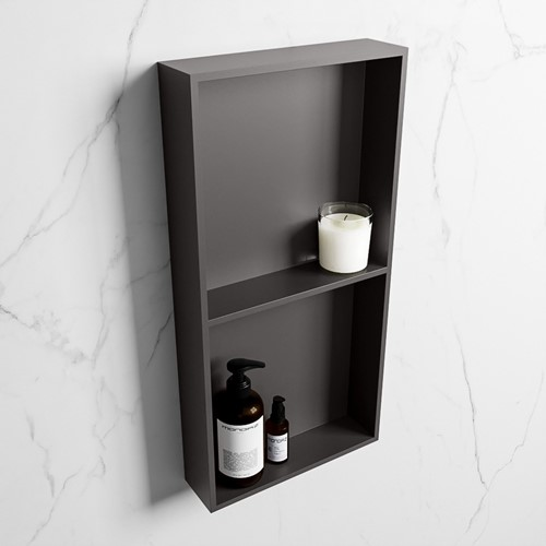 EASY Nis 59,5x29,5cm in solid surface kleur DarkGrey | DarkGrey. 2 vakken geschikt voor in- of opbouw