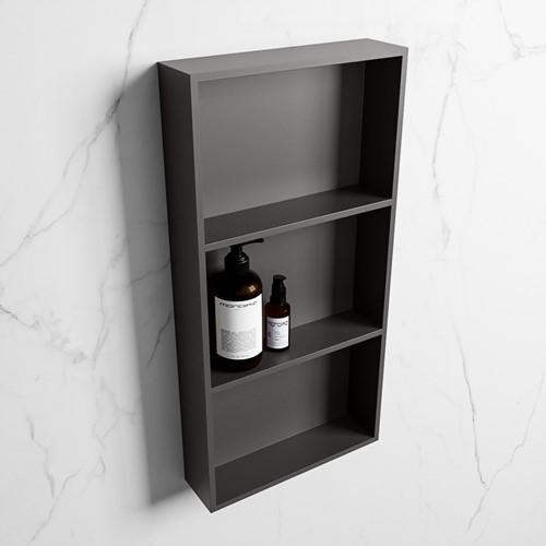 EASY Nis 59,5x29,5cm in solid surface kleur DarkGrey | DarkGrey. 3 vakken  geschikt voor in- of opbouw