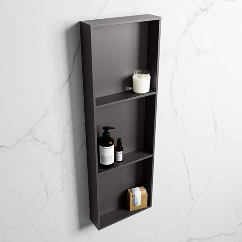 EASY Nis 89,5x29,5cm in solid surface kleur DarkGrey | DarkGrey. 3 vakken  geschikt voor in- of opbouw