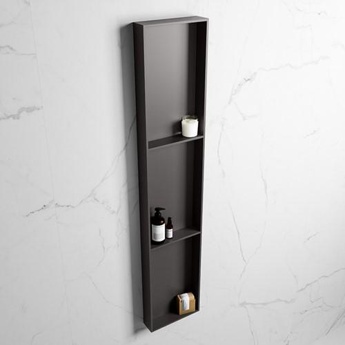 EASY Nis 149,5x29,5cm in solid surface kleur DarkGrey | DarkGrey. 3 vakken  geschikt voor in- of opbouw