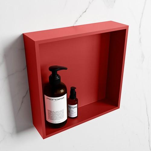 EASY Nis 29,5x29,5cm in solid surface kleur Fire | Fire. 1 vak  geschikt voor in- of opbouw
