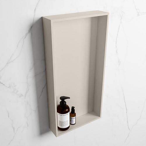EASY Nis 59,5x29,5cm in solid surface kleur Linen | Linen. 1 vak  geschikt voor in- of opbouw