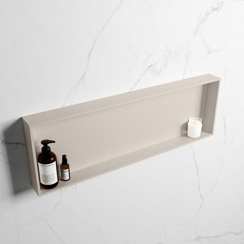 EASY Nis 89,5x29,5cm in solid surface kleur Linen | Linen. 1 vak  geschikt voor in- of opbouw
