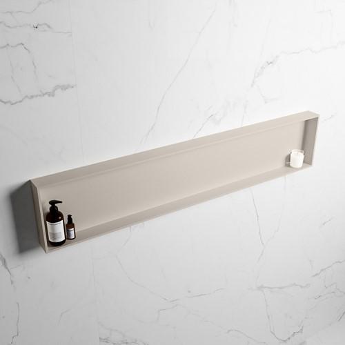 EASY Nis 149,5x29,5cm in solid surface kleur Linen | Linen. 1 vak  geschikt voor in- of opbouw