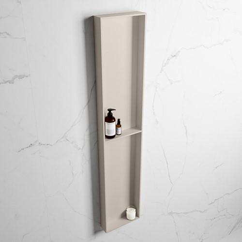 EASY Nis 89,5x29,5cm in solid surface kleur Linen | Linen. 2 vakken geschikt voor in- of opbouw