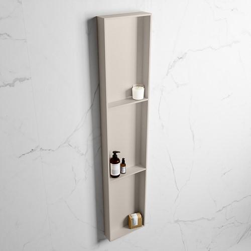 EASY Nis 149,5x29,5cm in solid surface kleur Linen | Linen. 3 vakken  geschikt voor in- of opbouw