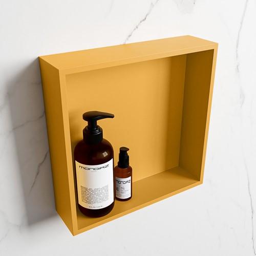 EASY Nis 29,5x29,5cm in solid surface kleur Ocher | Ocher. 1 vak  geschikt voor in- of opbouw