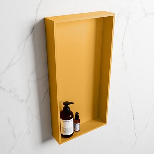EASY Nis 59,5x29,5cm in solid surface kleur Ocher | Ocher. 1 vak  geschikt voor in- of opbouw