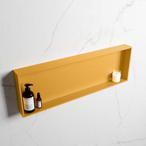 EASY Nis 89,5x29,5cm in solid surface kleur Ocher   Ocher. 1 vak  geschikt voor in- of opbouw