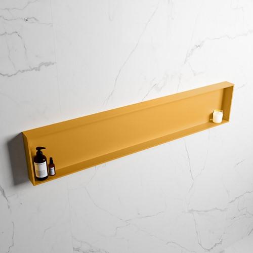 EASY Nis 149,5x29,5cm in solid surface kleur Ocher   Ocher. 1 vak  geschikt voor in- of opbouw
