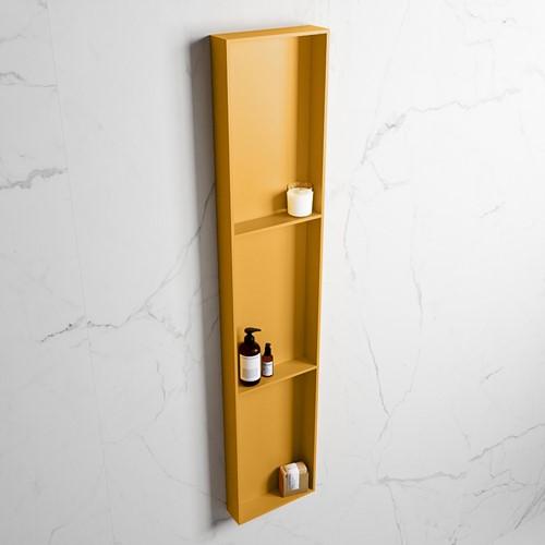 EASY Nis 149,5x29,5cm in solid surface kleur Ocher | Ocher. 3 vakken  geschikt voor in- of opbouw