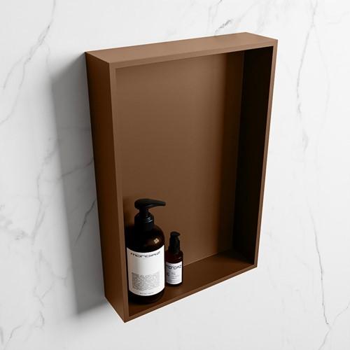 EASY Nis 44,5x29,5cm in solid surface kleur Rust   Rust. 1 vak  geschikt voor in- of opbouw