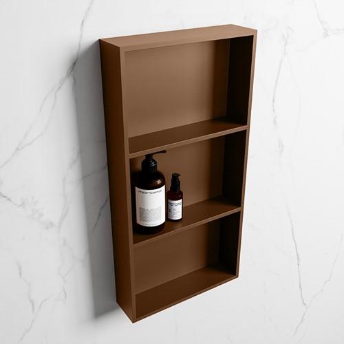 EASY Nis 59,5x29,5cm in solid surface kleur Rust   Rust. 3 vakken  geschikt voor in- of opbouw