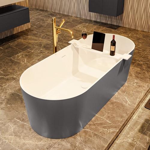 NOBLE vrijstaand bad 180x75cm kleur Dark Grey / Talc