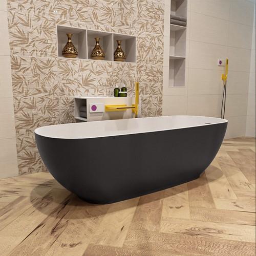 ROCK vrijstaand bad 170x70cm kleur Dark Grey / Talc