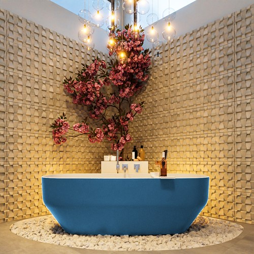 STONE vrijstaand bad 170x75cm kleur Jeans / Talc