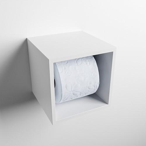Easy Toiletrolhouder CUBE 160 solid surface  16x16cm kleur Talc. Geschikt voor op en inbouw.