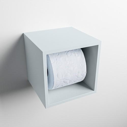 Easy Toiletrolhouder CUBE 160 solid surface  16x16cm kleur Clay. Geschikt voor op en inbouw.
