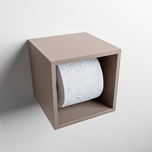 Easy Toiletrolhouder CUBE 160 solid surface  16x16cm kleur Smoke. Geschikt voor op en inbouw.