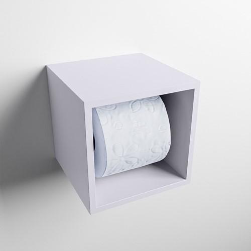 Easy Toiletrolhouder CUBE 160 solid surface  16x16cm kleur Cale. Geschikt voor op en inbouw.