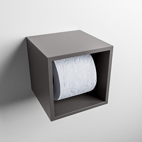 Easy Toiletrolhouder CUBE 160 solid surface  16x16cm kleur Dark grey. Geschikt voor op en inbouw.