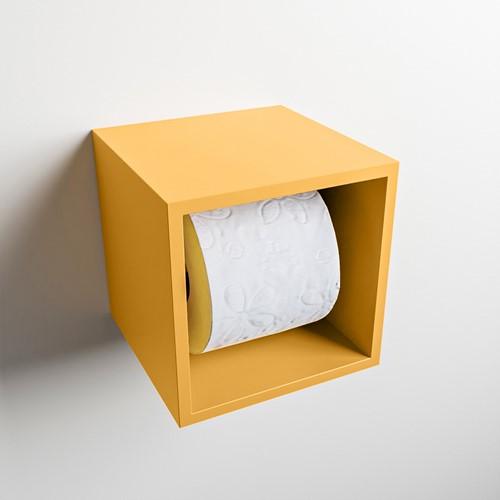 Easy Toiletrolhouder CUBE 160 solid surface  16x16cm kleur Ocher. Geschikt voor op en inbouw.