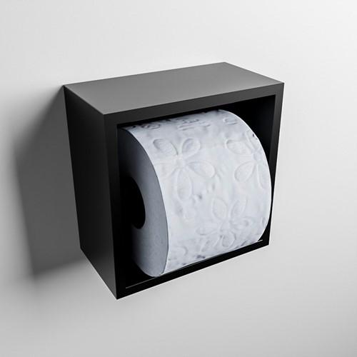 Easy Toiletrolhouder CUBE 160 solid surface  16x8,6cm kleur Urban. Geschikt voor op en inbouw.
