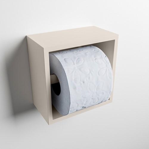 Easy Toiletrolhouder CUBE 160 solid surface  16x8,6cm kleur Linen. Geschikt voor op en inbouw.