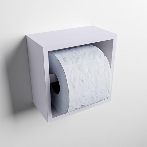 Easy Toiletrolhouder CUBE 160 solid surface  16x8,6cm kleur Cale. Geschikt voor op en inbouw.