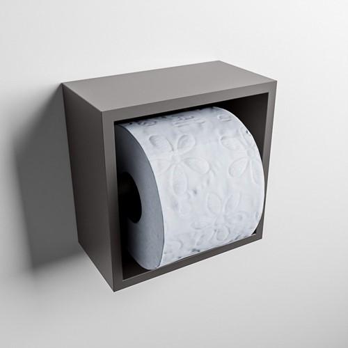 Easy Toiletrolhouder CUBE 160 solid surface  16x8,6cm kleur Dark grey. Geschikt voor op en inbouw.