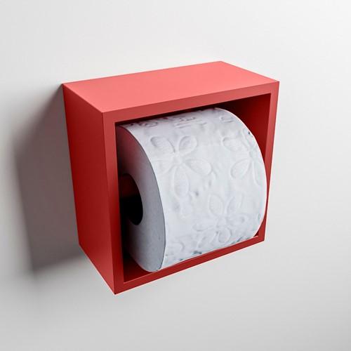 Easy Toiletrolhouder CUBE 160 solid surface  16x8,6cm kleur Fire. Geschikt voor op en inbouw.